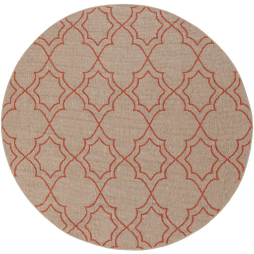 Shop Stacy Garcia, Beige & Orange Patterned Round Outdoor Rug