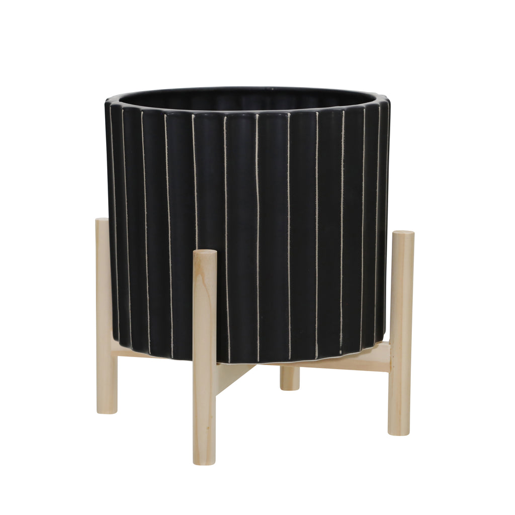 "Shop Stacy Garcia, 12"" Black & Beige Ribbed Planter on Wood Stand"