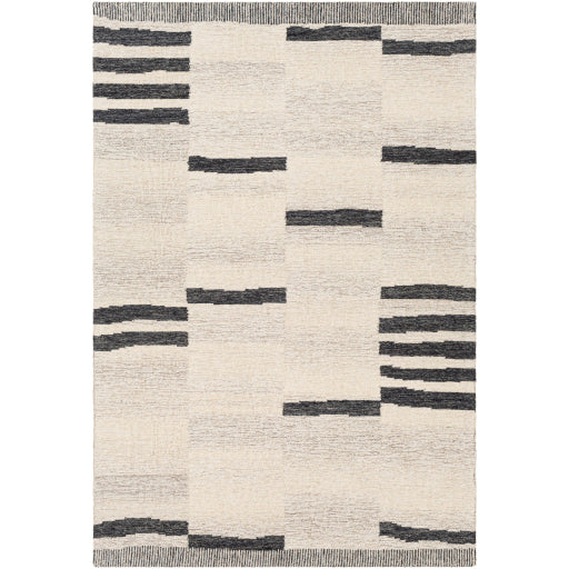 Shop Stacy Garcia, Charcoal and Beige Striped Hand Tufted Rug Sample