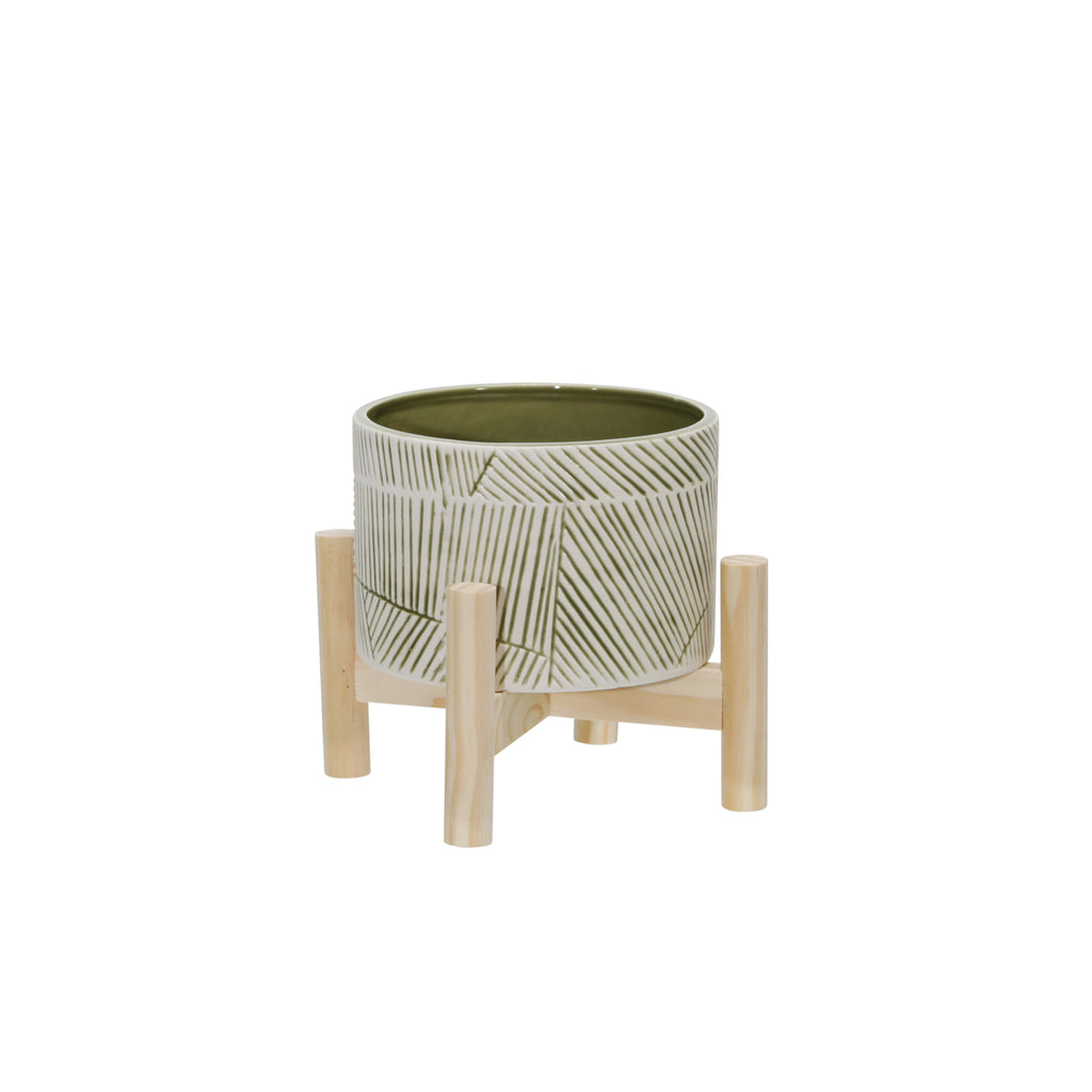 Shop Stacy Garcia, Green Patterned Ceramic Planter on Wood Stand