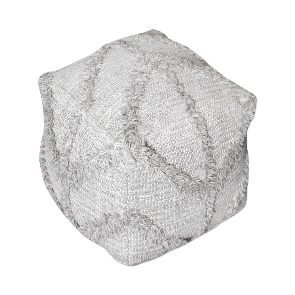 Shop Stacy Garcia Grey Geometric Fringe Pouf