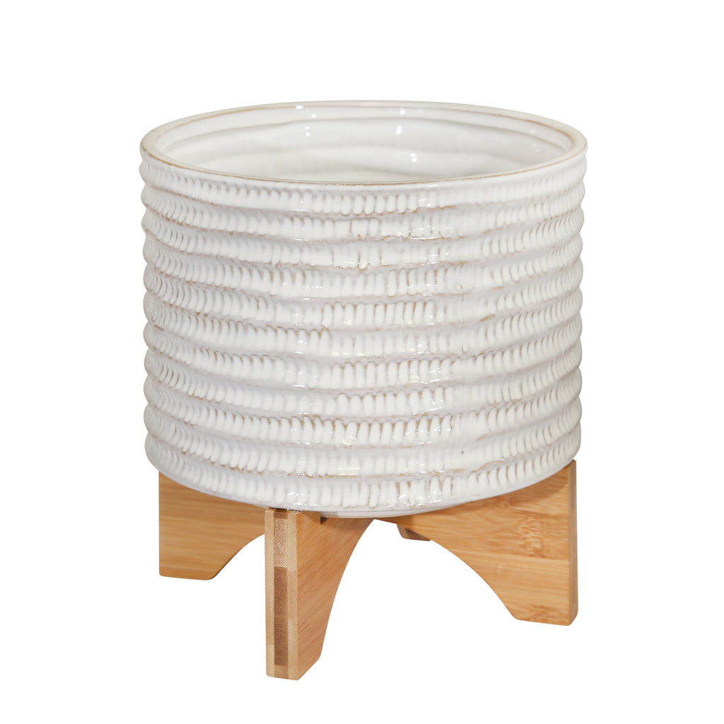 "Shop Stacy Garcia, 8"" White Ceramic Planter on Wood Stand"