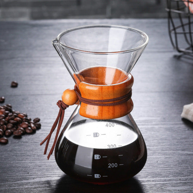 Load image into Gallery viewer, Glass Coffee Kettle with Stainless Steel Filter Drip Brewing Hot Brewer Coffee Pot Dripper Barista Pour Over Coffee Maker