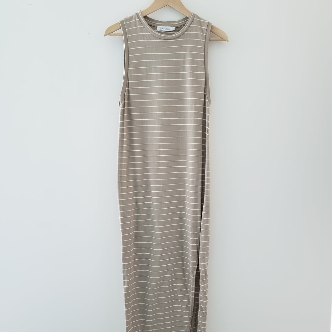 All in Favor Tan & White Stripe Maxi Dress