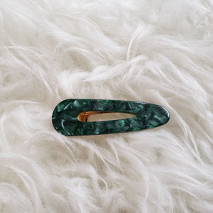 Evergreen with light green swirl hair clip