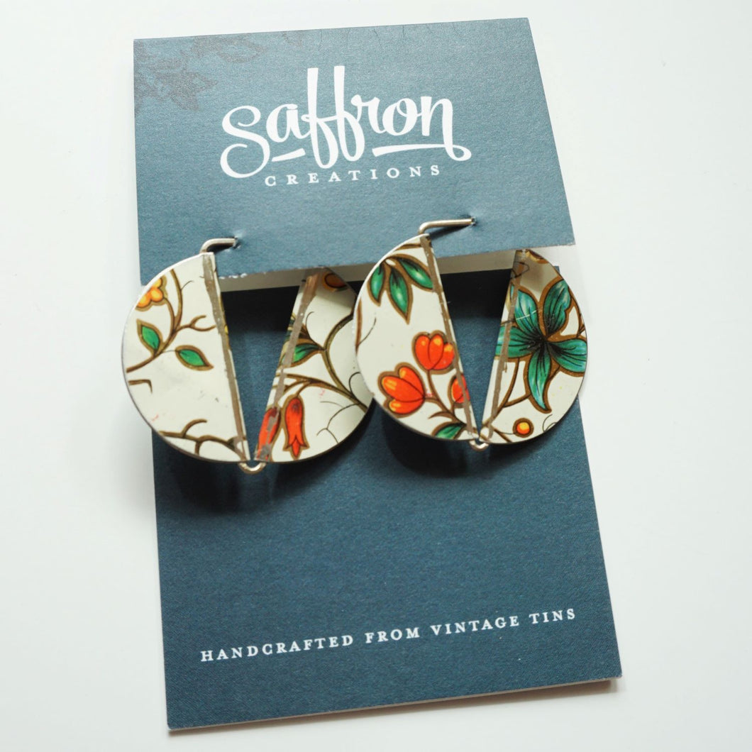 White Garden Florentine - Saffron Slice Earrings