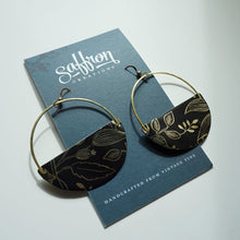 Load image into Gallery viewer, Black Foliage - Saffron Hoop Earrings