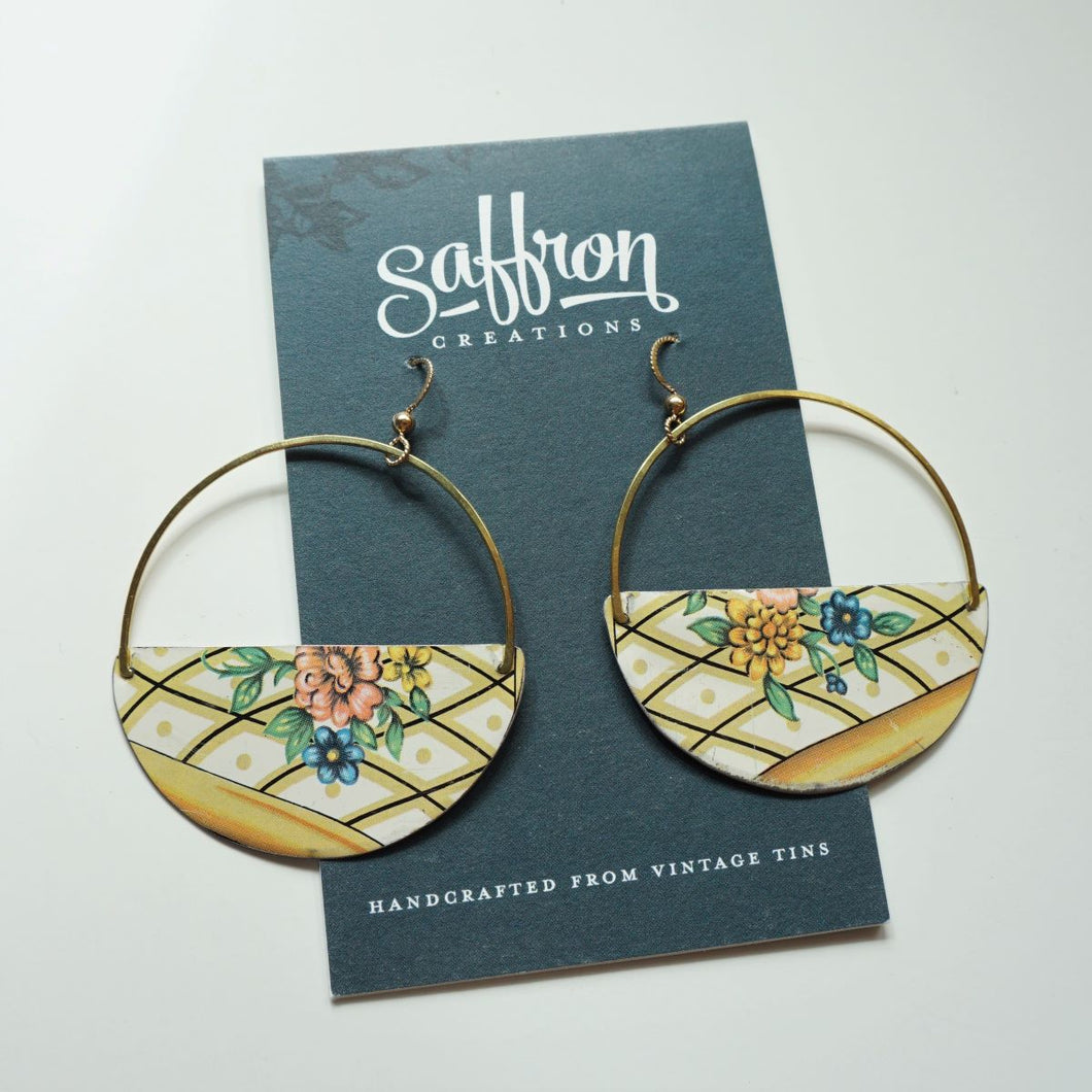 Cottage Floral - Saffron Hoop Earrings