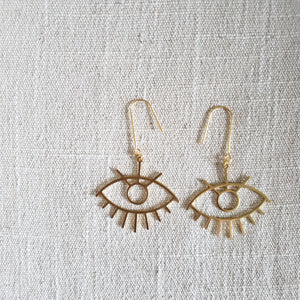 Large Eye Brass Earring on woven fabric