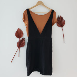 Frank and Oak black pinafore dress