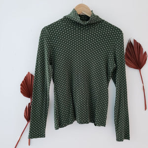 bulle de savon japan green yellow polka dot turtleneck