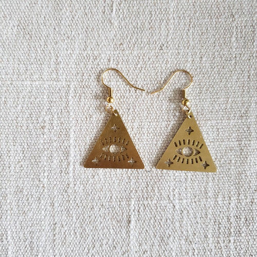 Triangle shape with eye and star cutout brass earrings