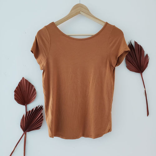 monk & lou orange top v cutout back