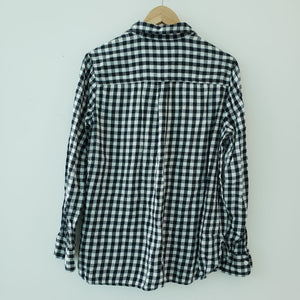 Old Navy Black White Checker Button Down Shirt