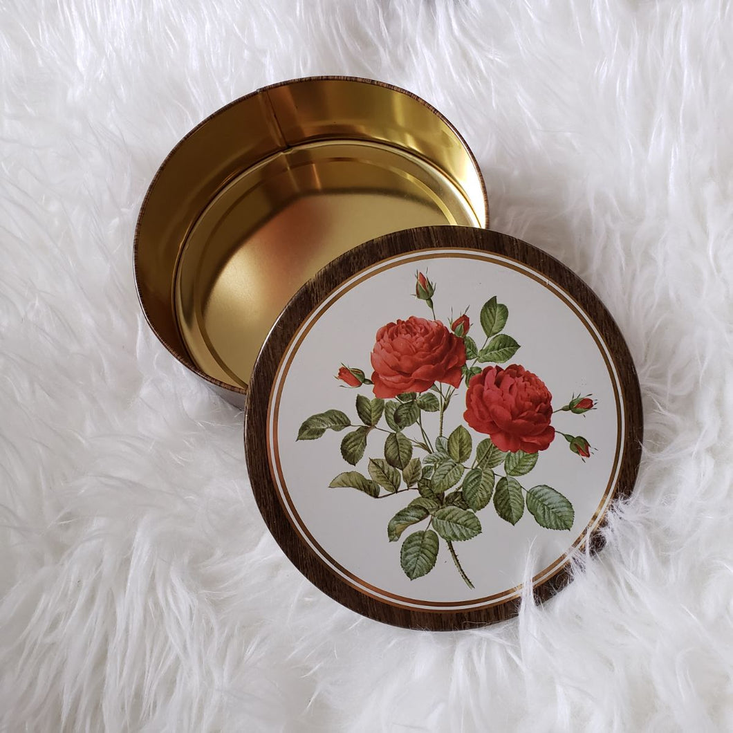 Vintage Rose Floral Tin Container