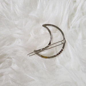 The Foxy Finds Moon Hair Clip back (silver)