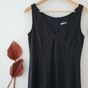 Tristan & Iseult Black Pinstripe Dress