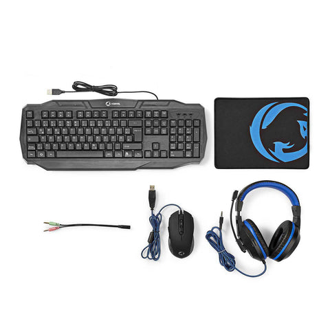 Gaming-Combo-Kit - 4-in-1 - Tastatur, Headset, Maus und Mousepad