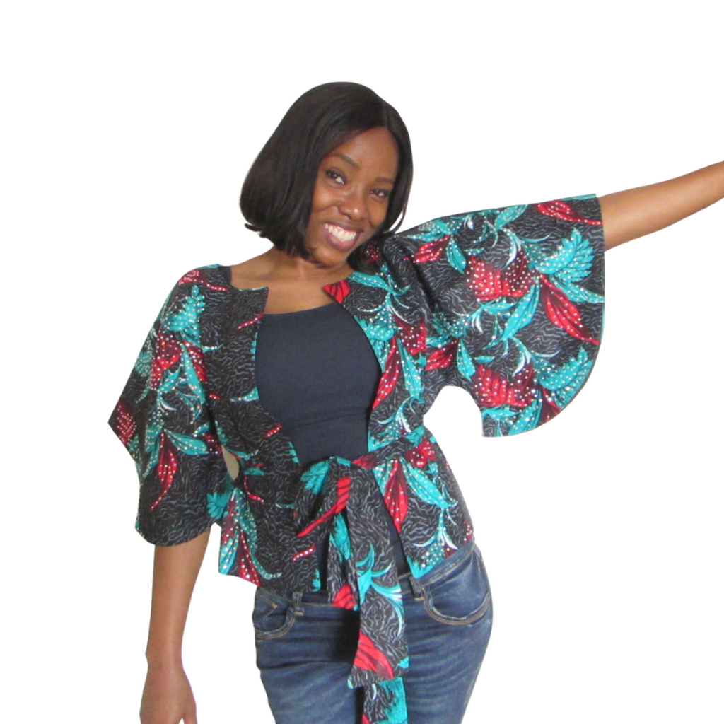 Fife Stoned Jacket| open front ankara stoned jacket with fabric belt( front view) - Timeless Springs
