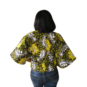 Kora Short Sleeve Jacket| ankara jacket (back view)- Timeless Springs