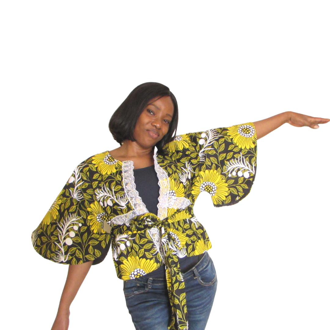 Kora Short Sleeve Jacket| ankara jacket (front view)- Timeless Springs