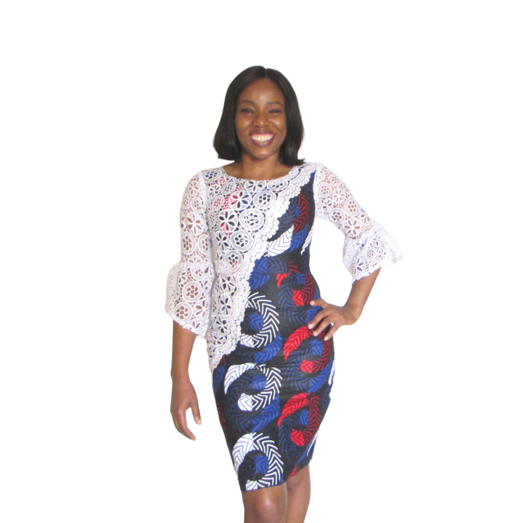 Mofe Pencil Dress | ankara dress (front view)- Timeless Springs