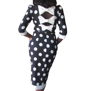 Moyo Shortsleeve Dress| black polka dot dress| black polka dress (back view) - Timeless Springs