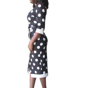 Moyo Shortsleeve Dress| black polka dot dress (side view) - Timeless Springs