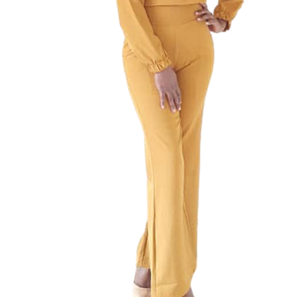 Nelo Wide Leg Pants| mustard pants (front view)- Timeless Springs