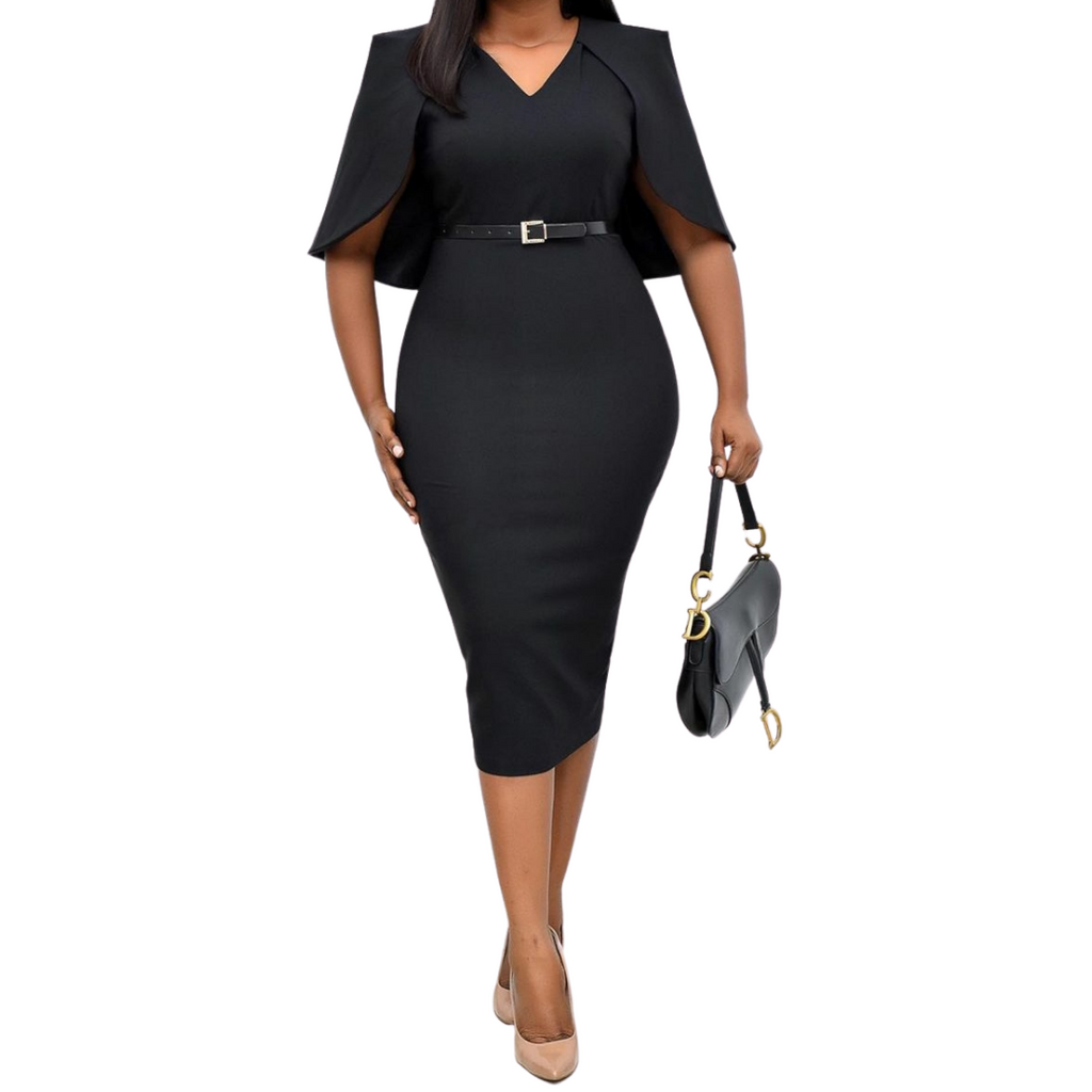 Oyin Cape Dress | Black Cape Dress - Timeless Springs