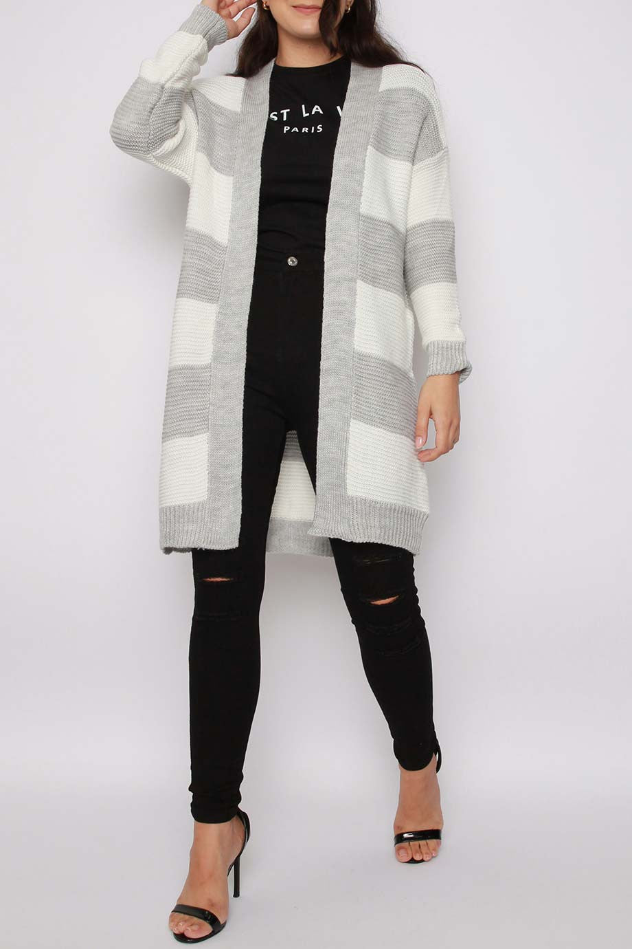 Keji Stripe Knitted Cardigan | Silver Grey Knitted Cardigan - Timeless Springs