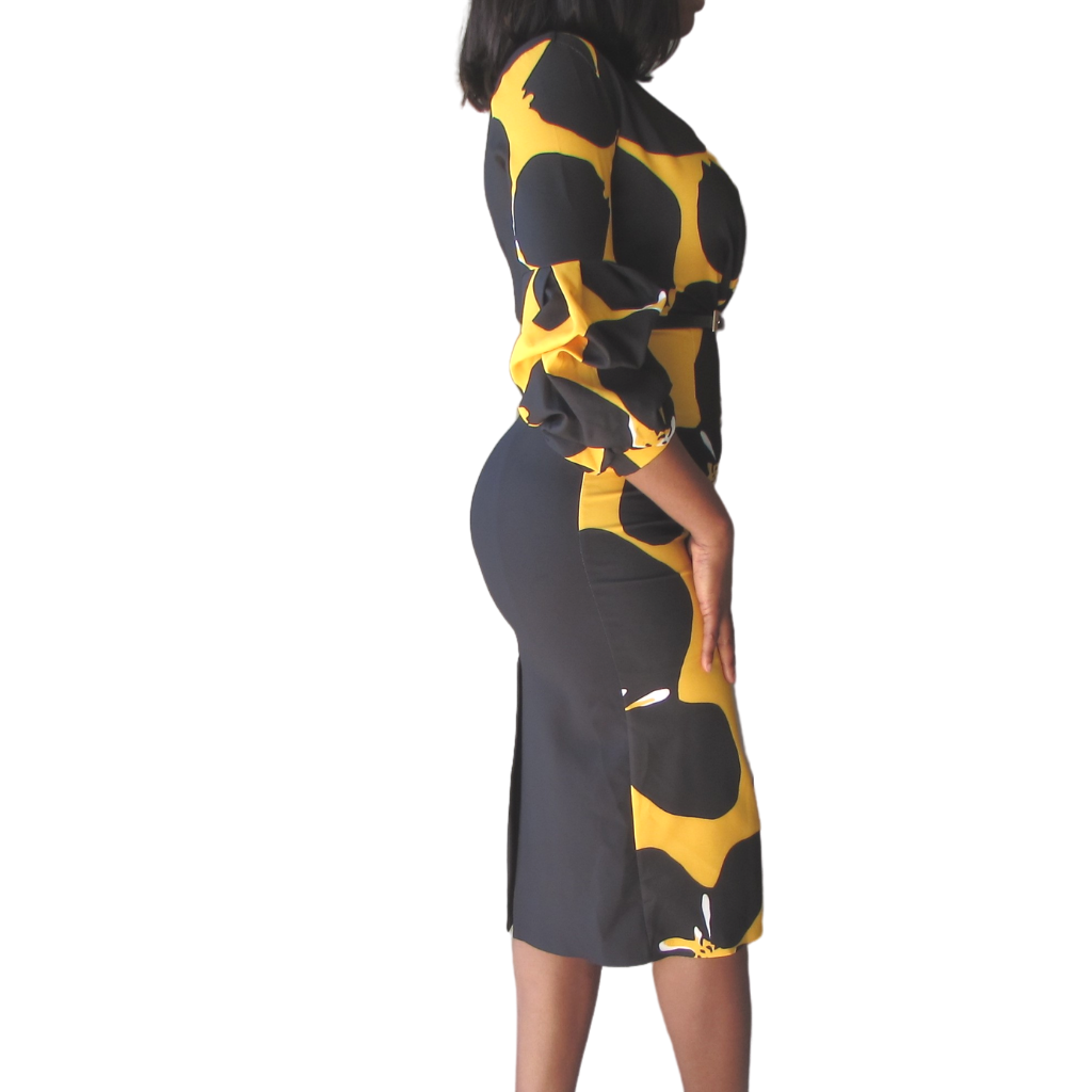 Tara Pencil Dress| Yellow dress (side view) - Timeless Springs