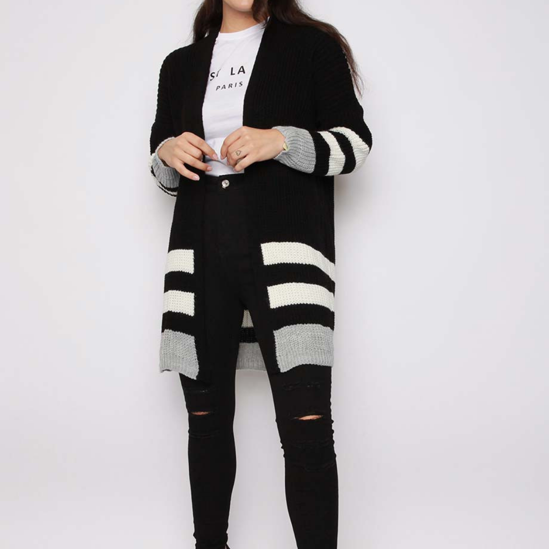 Keji Stripe Knitted Cardigan| Black Knitted Cardigan - Timeless Springs