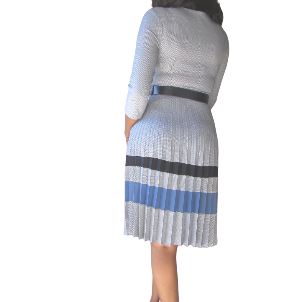 Yemi Checked Dress| Blue dress( backview) - Timeless Springs