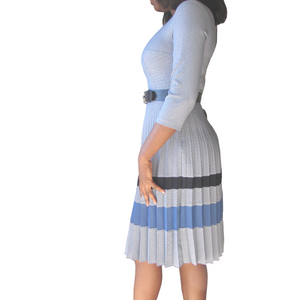 Yemi Checked Dress| Blue dress( side view) - Timeless Springs