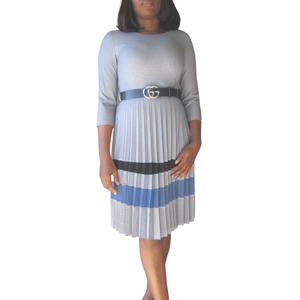 Yemi Checked Dress| Blue dress( front view) - Timeless Springs