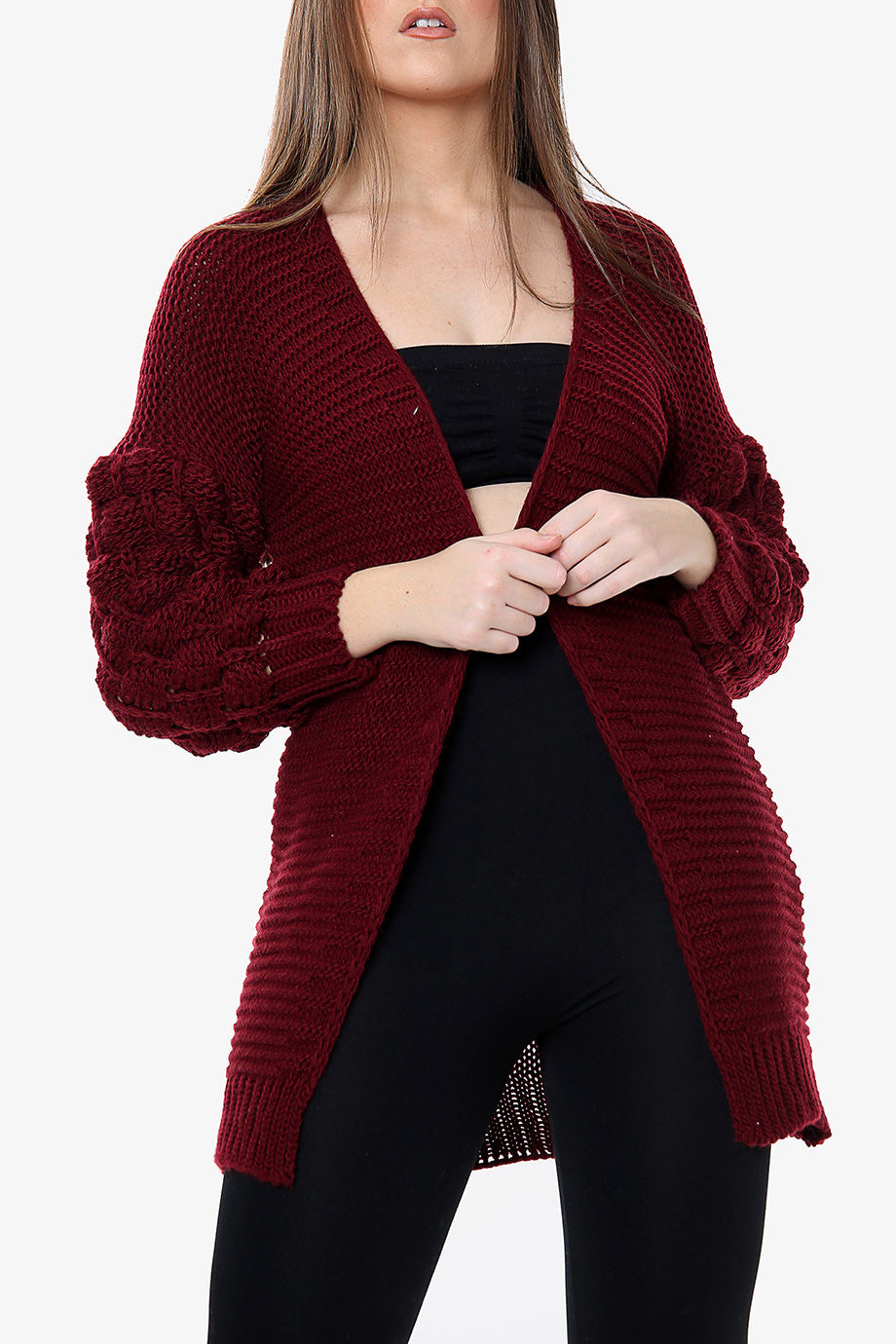 Emem Bobble Sleeve Knitted Cardigan | Wine Knitted Cardigan - Timeless Springs