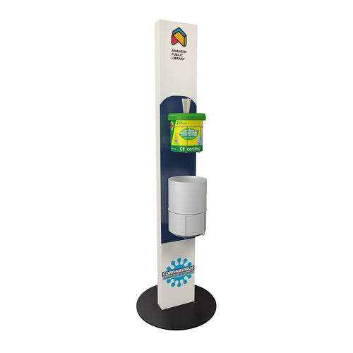 Disinfecting Wipes Dispenser Stand with Trash Can