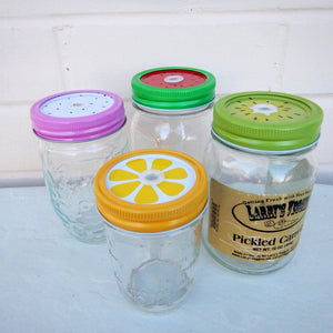 Mason Jar Lids 4 Pack Fruit Straw Hole Regular Lid