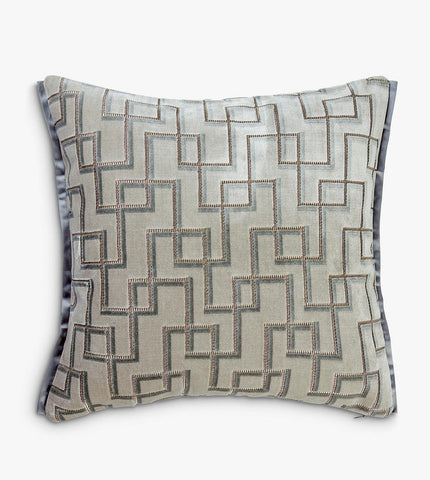 Geometric style grey and platinum cushion