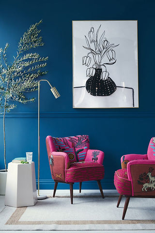 An example of complementary colours using a magenta and deep blue