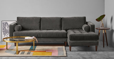 L Shape Chaise End sofa in grey