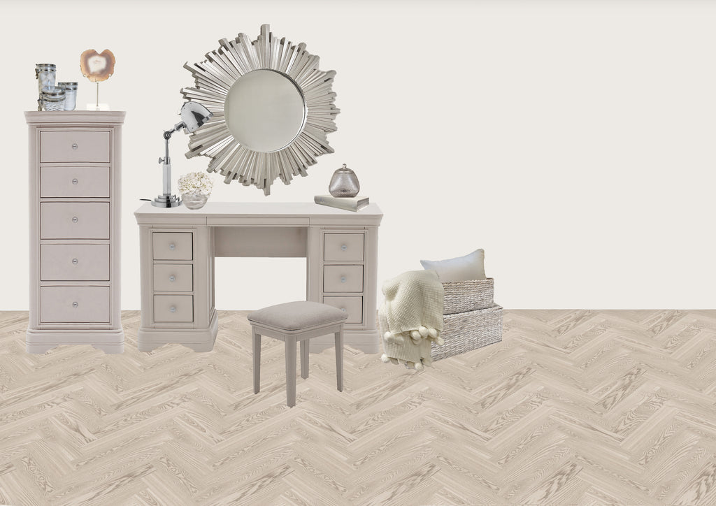 louvre bedroom with taupe furniture and silver accents