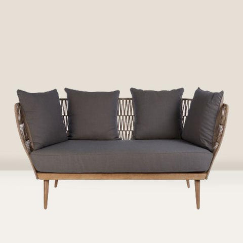 Cosy outdoor 2 seater sofa with cushions in Grey & Taupe