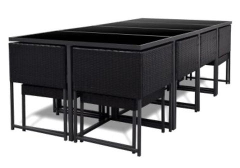 Rattan cube outdoor dining table