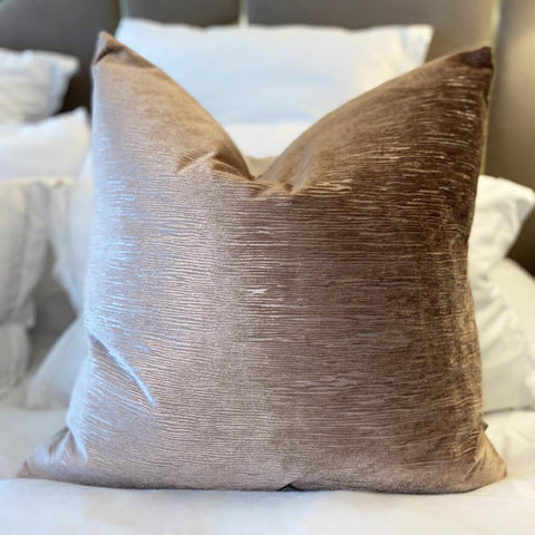 Laos Mink Velvet textured cushion with feather filling