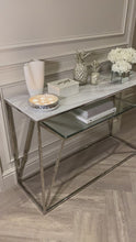 Load and play video in Gallery viewer, Aula Marble Glass Top Silver Console Table