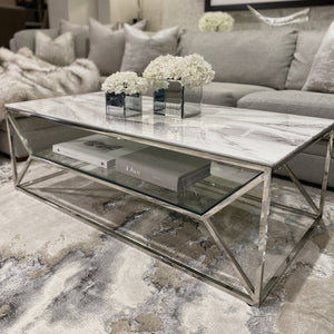 Aula Marble Glass Silver Coffee Table Table