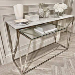 Aula Marble Glass Top Silver Console Table Table