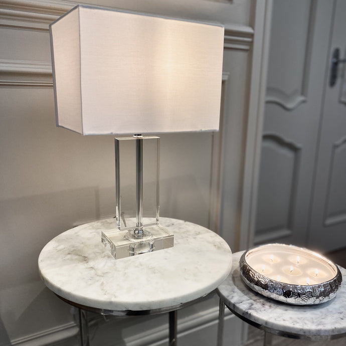 Rectangular glass table lamp with a silver grey lampshade